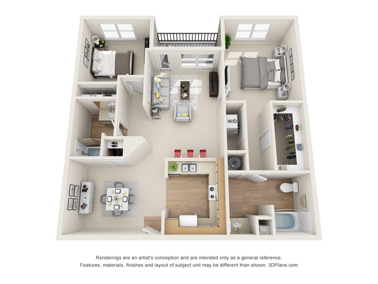 Redbud / Magnolia (2BR, 2BA) Floor Plan 3
